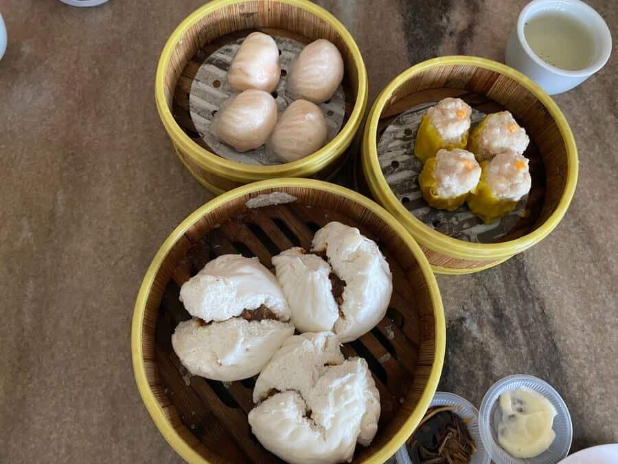 Some of the dim sum at Jinbo. Char siu bao, har gao and siu mai