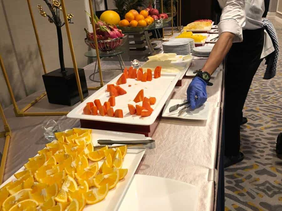 The selection of fruit on offer at the Marriot buffet breakfast.