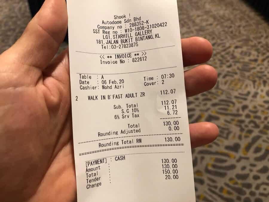 the receipt showing the cost of the JW Marriot buffet breakfast in Kuala Lumpur