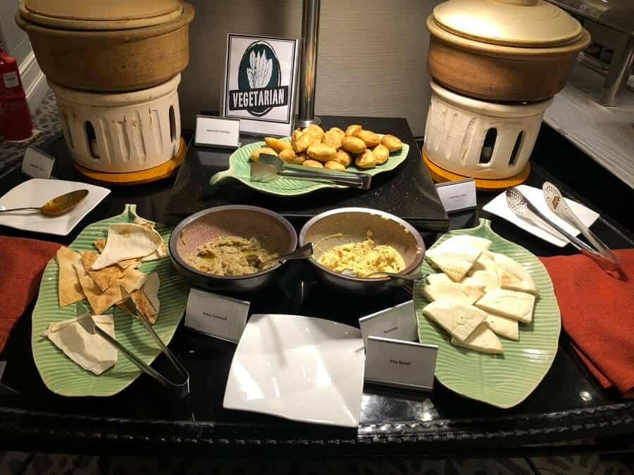 hummus and baba ganoush at the vegetarian food station in the Marriot buffet breakfast